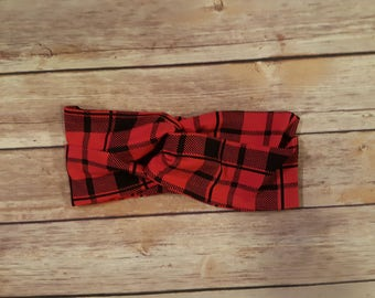 Turban Headband, Top Knot Headwrap - Red and Black Plaid