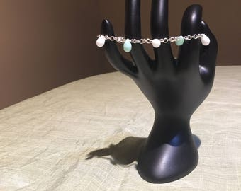 White and Turquoise Teardrop Bracelet Silver Plated