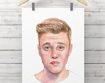 Bieber  - High Quality Print, Justin Bieber Illustration, Watercolour Wall Art, Celebrity Room Decor