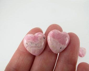 Pink Rhodochrosite heart beads, Genuine gemstone beads, 16mm pink heart beads