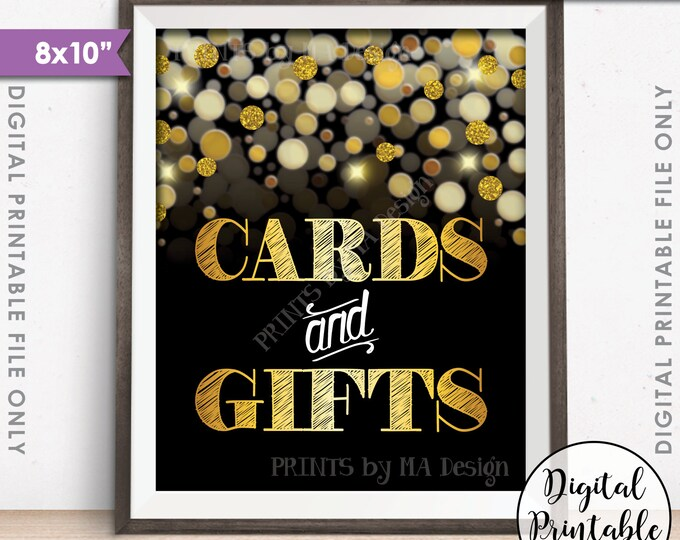 """Cards and Gifts Sign, Cards & Gifts, Birthday, Anniversary, Retirement, Graduation, Black and Gold Glitter Instant Download 8x10"""" Printable"""