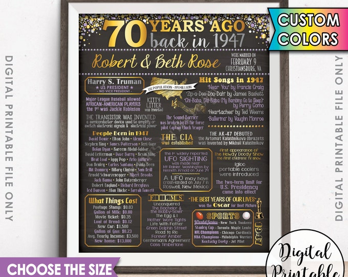 70th Anniversary Gift 1947 Poster Sign, Flashback 70 Years Ago USA Married in 1947 Birth 70th Gift Chalkboard Style Digital Printable File