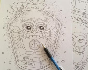 Harry Potter Printable Coloring Page Always - harry potter print - Harry Potter - owl print - owl coloring page