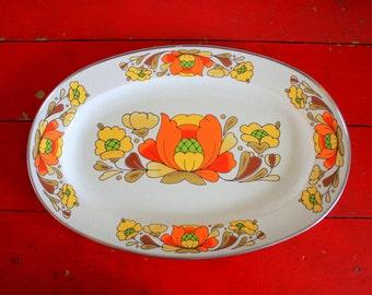Enamel Serving Tray Sanko Ware Country Flowers Porcelain