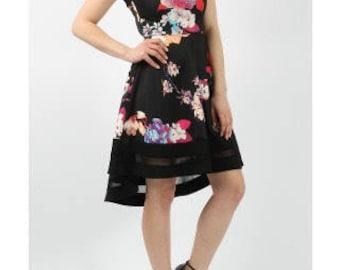 High Low Floral Print Skater Dress