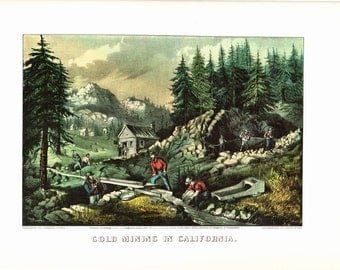 "Currier and Ives  Extra Large print of Gold Mining The page is  18 1/2 inches wide and 14 inches tall. The image is 12"" wide and 8"" tall."