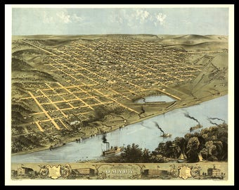 Panoramic Map of Omaha Nebraska 1863. These prints were done in the 1800's and can be printed in various sizes. Up to 12 X 18.
