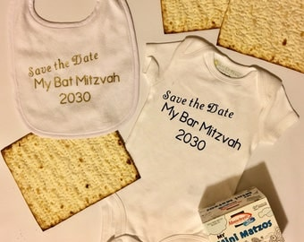Save the Date My Bat or Bar Mitzvah Onesie, Bib, and Youth Shirt