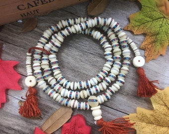 Natural 108 7mm White Yak Bone inlay Turquoise Stone Beads Buddha Prayer Beads Bracelet Meditation Japa Mala Necklace Buddhism