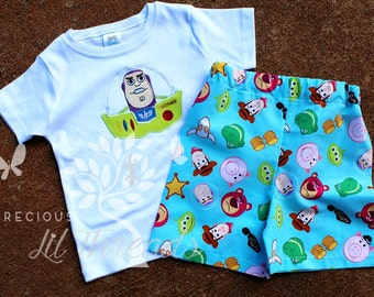 Custom Personalized Toy Story Character of Choice Shirt- Baby Boys- Toddler boys- Boys Short set size 6m, 12m, 18m, 2t, 3t, 4t, 5t, 6