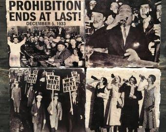 Vintage Prohibition Coaster Set x4