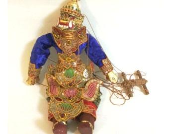 Vintage Myanmar Burmese Golden Hanuman Detailed and Intricate Handmade Wooden Marionette Puppet