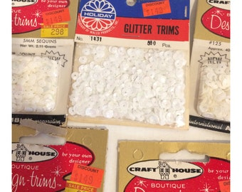 6 Boxes of Vintage White Iridescent Sequins