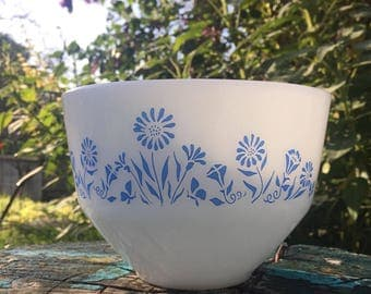 Vintage Federal glass bowl with blue flowers 1950's USA FEG 29