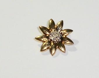 Fine 14K Yellow Gold Daisy/Sunflower Slide Necklace Pendant w/Diamonds