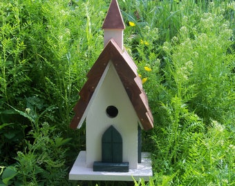 Country Church Birdhouse with copper steeple and ridge