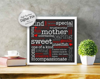 Words for Mom Poster, A Gift for Mom, Mom is Special, Wall Decor, Digital File