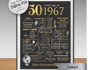 50th Anniversary Print, 1967 Events and Fun Facts, 50th Anniversary Gift, 50 Years Ago, Gold, Instant Download, Digital Files