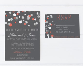 Polka Dot Coral Silver and Gray Wedding Invitation, Silver Glitter, Sparkle Wedding Invitation, Classy and Elegant, Dots, Polka Dot Invite