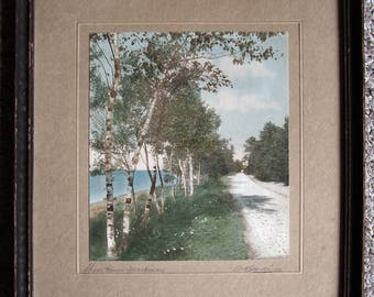 Rare Hand-Tinted Photograph by W.H. Gardiner - Titled: Shore Drive Mackinac - Mackinac Island MI - ca. Early 1900s