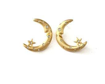 Vintage Crescent Moon Rhinestone Earrings