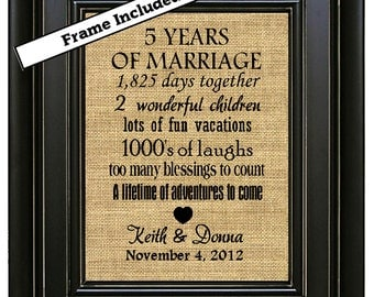 FRAMED 5th Wedding Anniversary/5th Anniversary Gifts/5th Wedding Anniversary Gift/5 years Marriage/Burlap Wall Print/Wood Anniversary