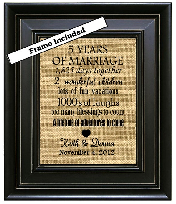 5 Year Wedding Gift : ... Gifts/5th Wedding Anniversary Gift/5 years Marriage/Burlap Wall Print