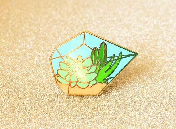 Succulent terrarium enamel pin (hard enamel pin lapel pin badge enamel jewelry cute cactus jewelry succulent pin backpack pins)