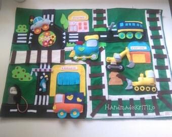 Handmade felt play mat quietbook KriTiLo vehicles
