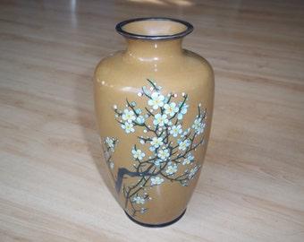 Japanese Sakura Vase, Cloisonné Enamel, Meji Period Silver Wire,  Circa 1900's Lovely Spring Decor