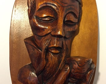 Carved Wood Asian Man with Tea Cup