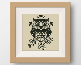 BUY 2, GET 1 FREE! Owl Cross Stitch Pattern, pdf counted cross stitch, Owl Cross Stitch Chart, Birds Pattern, Birds Cross Stitch, #P060