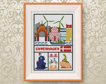 BUY 2, GET 1 FREE! Copenhagen cross stitch pattern, Travel cross stitch pattern, Little Copenhagen cross stitch, Instant Download #P268