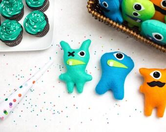 Set of 3+ Adopt a monster plush. Mini stuffed monster party favors. Felt Monsters. Little monster theme party. Adopt a Monster party