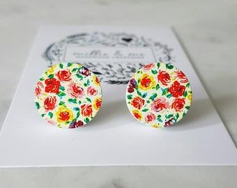 Wooden rose garden earrings