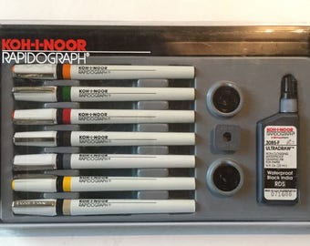 Koh-I- Noor Rapidograph Professional Technical Pen Set 3165, 7 Pens with Black India Ink and Nib Keys, Used