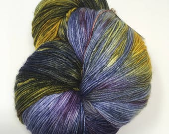 Dragon's Egg 150 gram Indie Dyed Yarn on Merino cashmere Nylon MCN blue purple gold