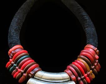 FREE SHIPPING. Handamde Berber Tuareg Tisek necklace. Bakelite beads. Tanfouk, Talhakimt amulet, talisman. Ethnic, tribal, vintage jewellery