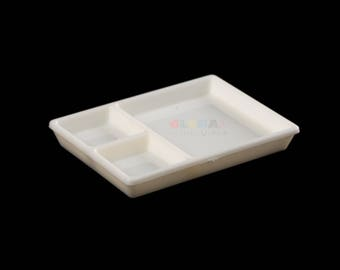 Dollhouse Miniatures White Plastic 3 Hole Meal Tray - 1:12 Scale
