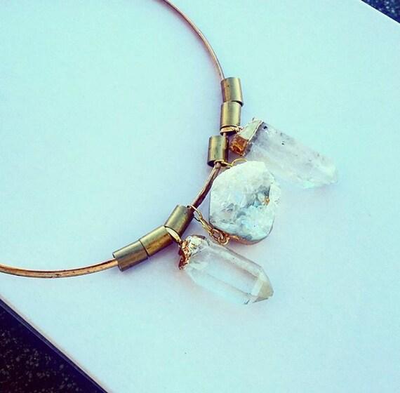 Quartz choker Brasd necklace - trendy - jewellery - circle - geometric - statement piece