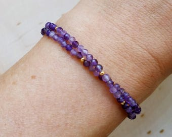 Amethyst Choker Necklace and Wrap Bracelet