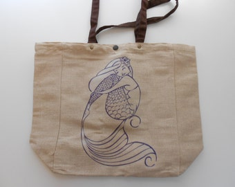 SALE Purple-Blue Mermaid Jute Tote Bag, Nautical Market Bag, Purse, Gift For Her, Beach Bag