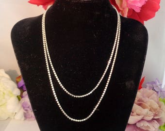 """Vintage LES BERNARD 36"""" Silverplate Necklace with Small Row of Rhinestones. Les Bernard is Engraved on the Classic Oval Tag."""