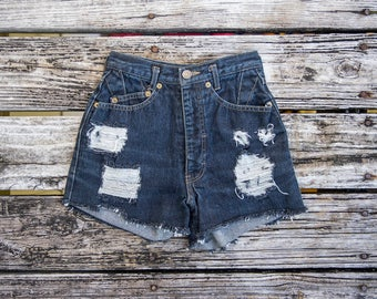 Vintage EDWIN Sz 24 High Waisted Jean Cut Off Shorts