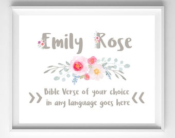 JW | Customized Name and Bible Verse Print in any language  | Personalized Nursery Art | Wall Art |  Baby Shower Gift | 112