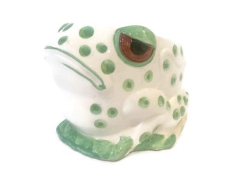 Vintage Frowning Frog Ceramic Pot Container Made in Japan