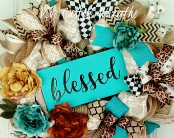 Burlap Floral Blessed Wreath, Turquoise Rustic Wreath, Religious Wreath, Spring Burlap Mesh Wreath, Spring Floral Wreath, Blessed Wreath