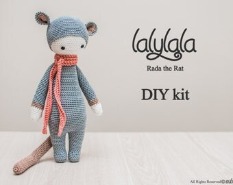 Grey Lalylala Rada the Rat - Amigurumi kit set - Lalylala pattern - DIY Craft - Gift for girl - Valentine's gift - craft set gift