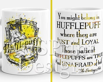Harry Potter Hufflepuff Crest Quote Mug Hufflepuff Crest Watercolor Art Cup Coffee Mug Tea Mug Birthday Gift Christmas Gift Gift for Her