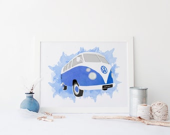 Watercolour Camper Van Print